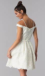 Image of ivory embroidered short sweetheart homecoming dress. Style: TE-T3090 Back Image