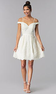 Image of ivory embroidered short sweetheart homecoming dress. Style: TE-T3090 Detail Image 2
