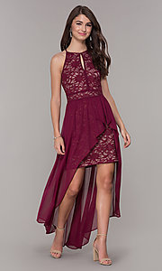 High Low Glitter Lace Red Wedding Guest Dress
