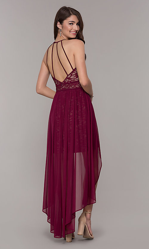 cb5613dd572a Image of merlot glitter-lace high-low wedding guest dress. Style  MO