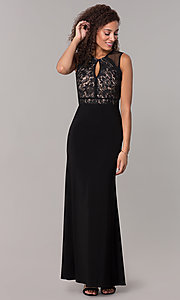 Image of lace-bodice long formal MOB dress in black. Style: MO-12528A Front Image