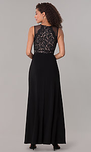 Image of lace-bodice long formal MOB dress in black. Style: MO-12528A Back Image