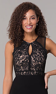 Image of lace-bodice long formal MOB dress in black. Style: MO-12528A Detail Image 1