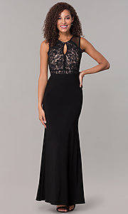 Image of lace-bodice long formal MOB dress in black. Style: MO-12528A Detail Image 3