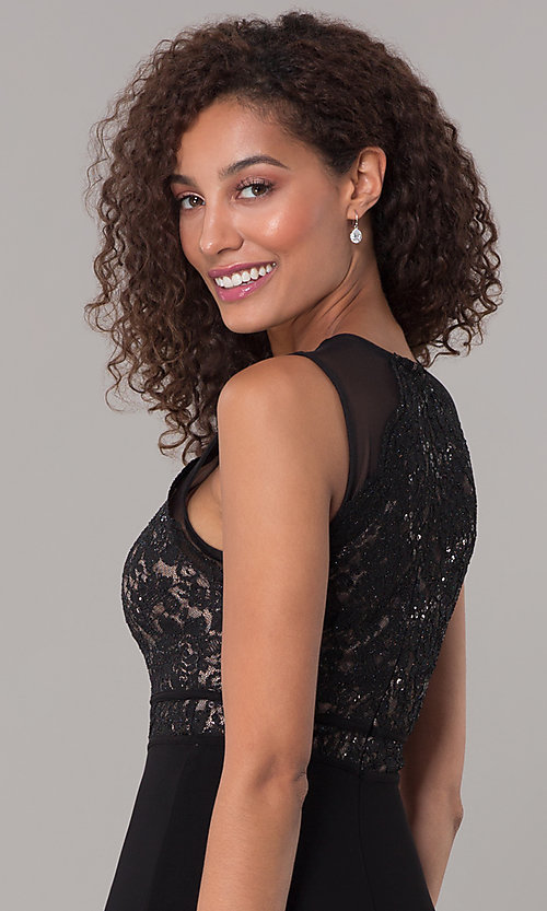 Image of lace-bodice long formal MOB dress in black. Style: MO-12528A Detail Image 2