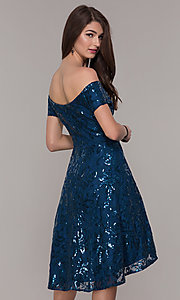 Image of sequin high-low off-the-shoulder homecoming dress. Style: MO-12541 Back Image