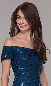 Image of sequin high-low off-the-shoulder homecoming dress. Style: MO-12541 Detail Image 1