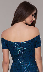 Image of sequin high-low off-the-shoulder homecoming dress. Style: MO-12541 Detail Image 2