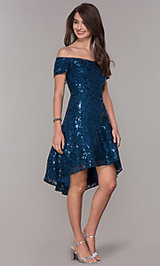 Image of sequin high-low off-the-shoulder homecoming dress. Style: MO-12541 Detail Image 3