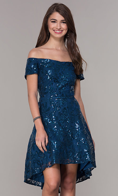 Image of sequin high-low off-the-shoulder homecoming dress. Style: MO-12541 Front Image