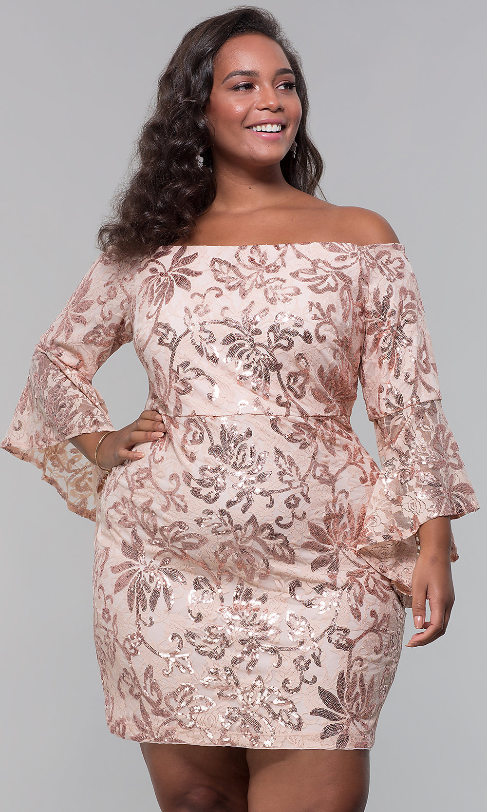 Sequin-Lace Short Wedding Guest Plus-Size Dress