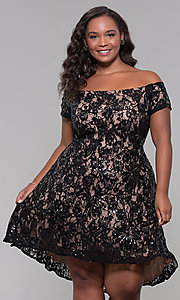 Image of sequin high-low plus-size wedding-guest party dress. Style: MO-12541WM Detail Image 3