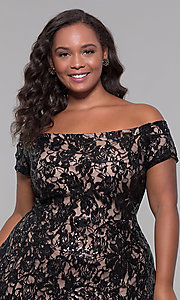 Image of sequin high-low plus-size wedding-guest party dress. Style: MO-12541WM Detail Image 5