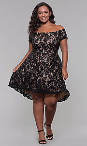 Image of sequin high-low plus-size wedding-guest party dress. Style: MO-12541WM Detail Image 6