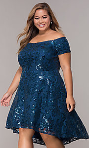 Image of sequin high-low plus-size wedding-guest party dress. Style: MO-12541WM Front Image