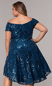 Image of sequin high-low plus-size wedding-guest party dress. Style: MO-12541WM Back Image