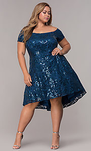 Image of sequin high-low plus-size wedding-guest party dress. Style: MO-12541WM Detail Image 2