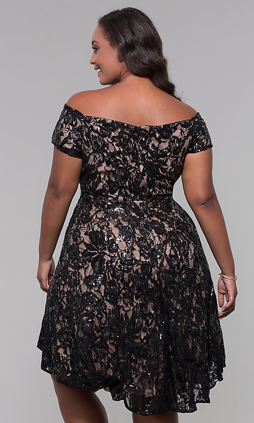 Image of sequin high-low plus-size wedding-guest party dress. Style: MO-12541WM Detail Image 4
