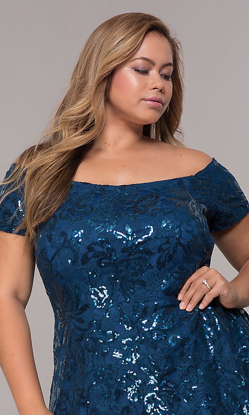 Image of sequin high-low plus-size wedding-guest party dress. Style: MO-12541WM Detail Image 1