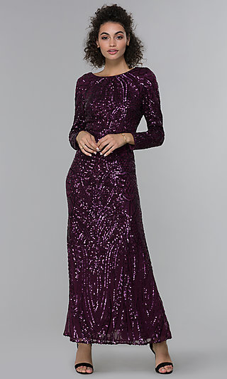 Formal MOB Long-Sleeve Mulberry Purple Sequin Dress
