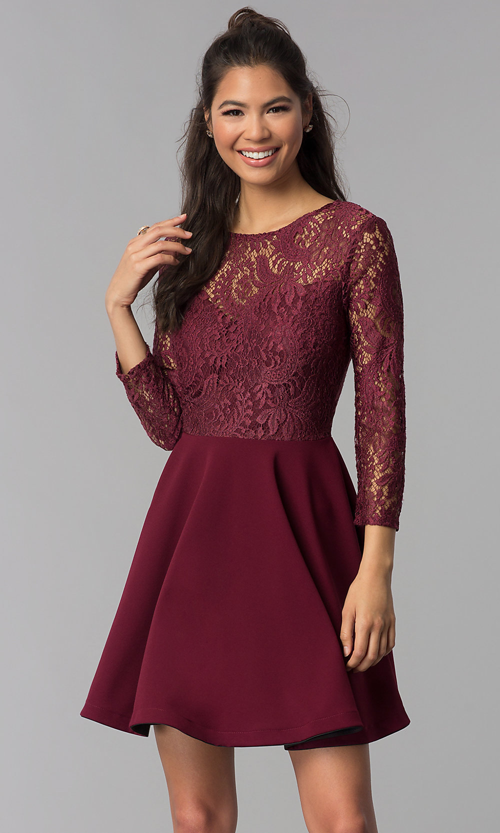 bc7ffa323f6 Image of short garnet red lace homecoming dress with sleeves. Style   BD-Q72CK170. Tap to expand