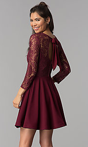 Image of short garnet red lace homecoming dress with sleeves. Style: BD-Q72CK170 Back Image