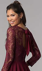 Image of short garnet red lace homecoming dress with sleeves. Style: BD-Q72CK170 Detail Image 2