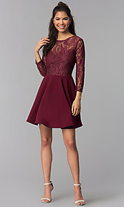 Image of short garnet red lace homecoming dress with sleeves. Style: BD-Q72CK170 Detail Image 3