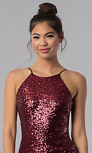 Image of burgundy red short sequin faux-wrap homecoming dress. Style: BD-Q451L464 Detail Image 1
