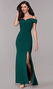 Image of wedding guest long formal off-the-shoulder dress. Style: MO-12343 Front Image