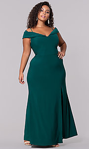 Image of wine red long plus-size wedding-guest dress. Style: MO-12343WMM Detail Image 3