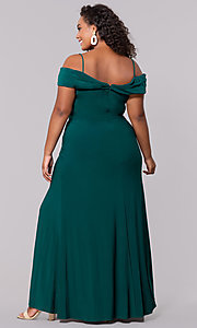 Image of wine red long plus-size wedding-guest dress. Style: MO-12343WMM Back Image
