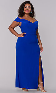 Image of wine red long plus-size wedding-guest dress. Style: MO-12343WMM Detail Image 5