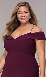 Image of wine red long plus-size wedding-guest dress. Style: MO-12343WMM Detail Image 1