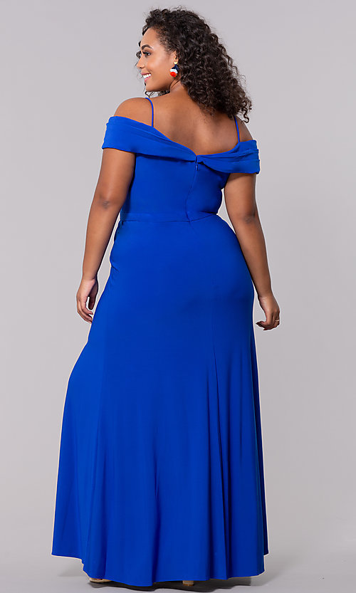 Image of wine red long plus-size wedding-guest dress. Style: MO-12343WMM Detail Image 6