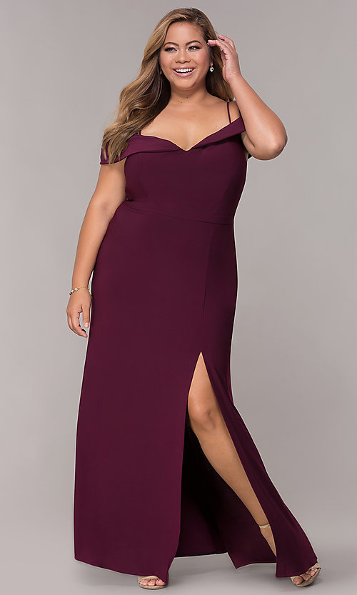 Image of wine red long plus-size wedding-guest dress. Style: MO-12343WMM Front Image