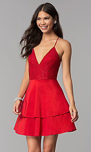 Image of v-neck homecoming dress with criss-crossing straps. Style: MCR-2580 Detail Image 2