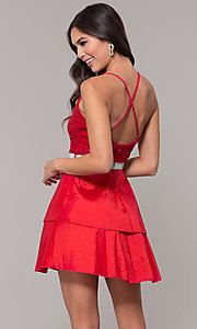 Image of v-neck homecoming dress with criss-crossing straps. Style: MCR-2580 Detail Image 5