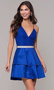 Image of v-neck homecoming dress with criss-crossing straps. Style: MCR-2580 Front Image