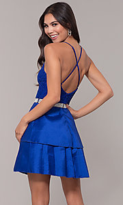 Image of v-neck homecoming dress with criss-crossing straps. Style: MCR-2580 Back Image