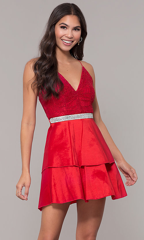 Image of v-neck homecoming dress with criss-crossing straps. Style: MCR-2580 Detail Image 4