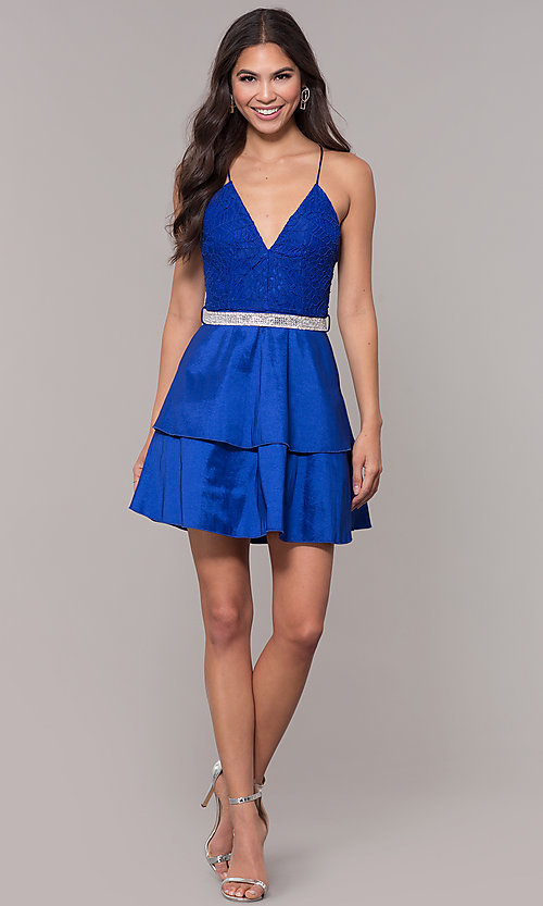 Image of v-neck homecoming dress with criss-crossing straps. Style: MCR-2580 Detail Image 3