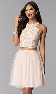 Image of short blush pink two-piece homecoming party dress. Style: MCR-1959 Front Image