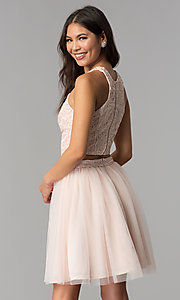 Image of short blush pink two-piece homecoming party dress. Style: MCR-1959 Back Image