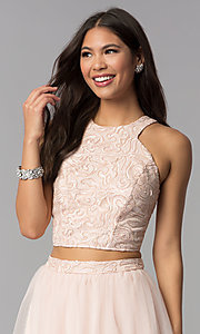 Image of short blush pink two-piece homecoming party dress. Style: MCR-1959 Detail Image 1