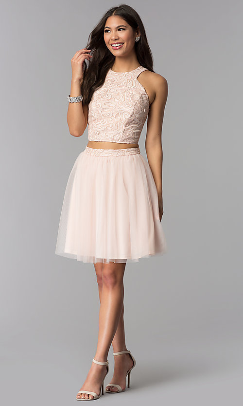 Image of short blush pink two-piece homecoming party dress. Style: MCR-1959 Detail Image 3