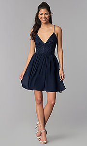 Image of lace-bodice short navy blue homecoming party dress. Style: MCR-2581 Detail Image 3