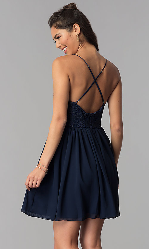 Image of lace-bodice short navy blue homecoming party dress. Style: MCR-2581 Back Image