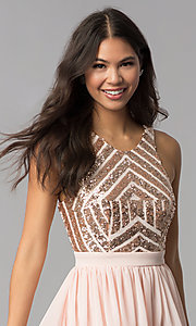 Image of rose gold short homecoming dress with sequins. Style: MCR-2555 Detail Image 1