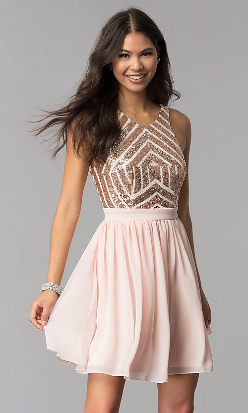 Image of rose gold short homecoming dress with sequins. Style: MCR-2555 Front Image